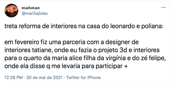 Arquiteta fez uma sequência de tuítes falando sobre o caso.
