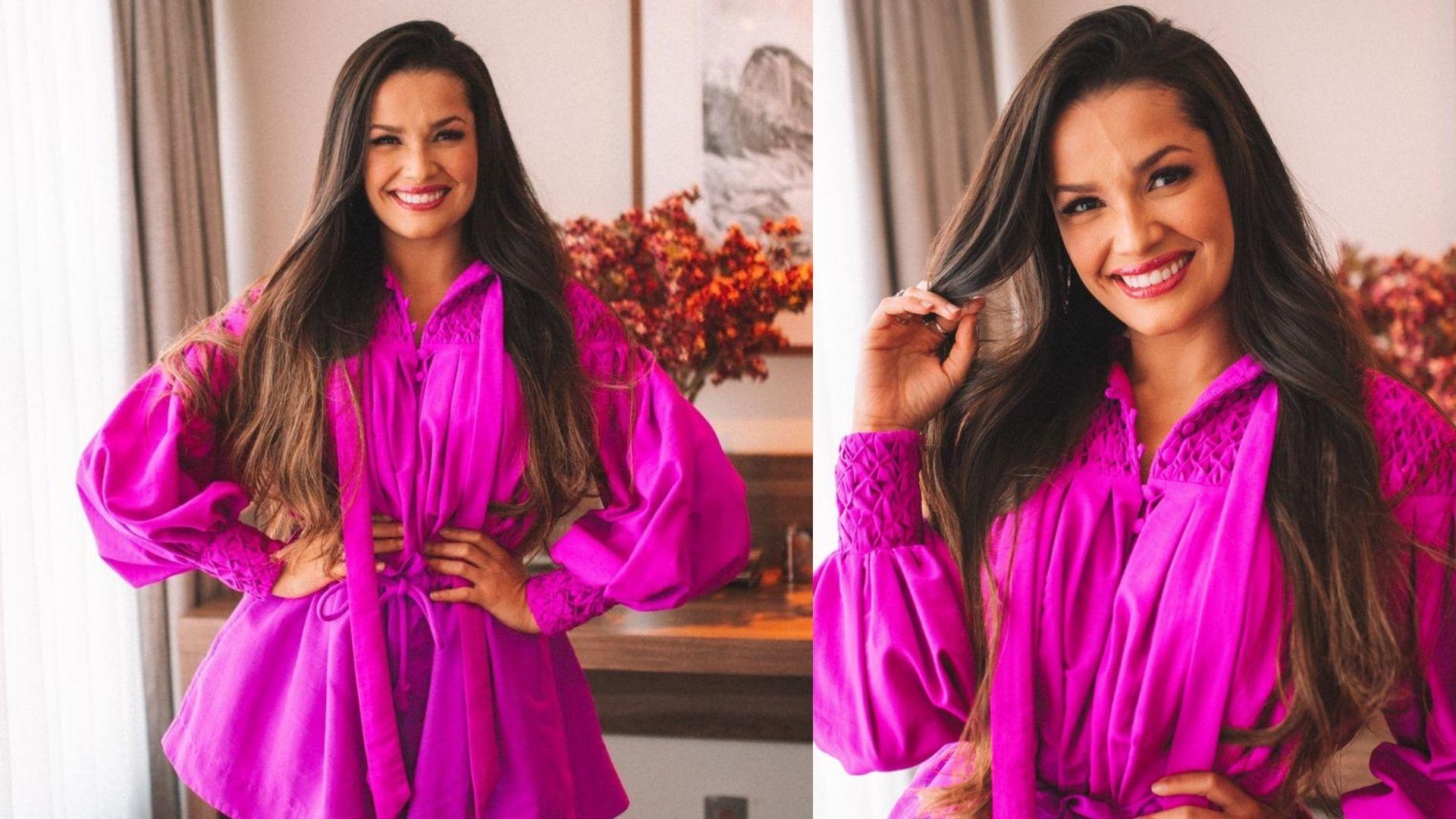 Juliette usou conjunto pink de camisa e shorts com mangas bufantes da coleção ELA da marca Amarante Brand.